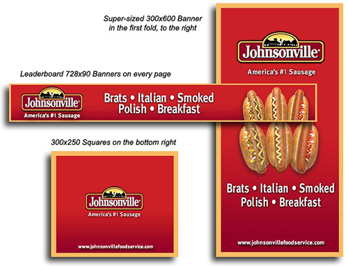 Banner sizes 300x600, 728x90 and 300x250 pixels