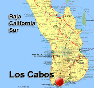 Map of Baja California Sur featuring Los Cabos at the southern tip of the peninsula