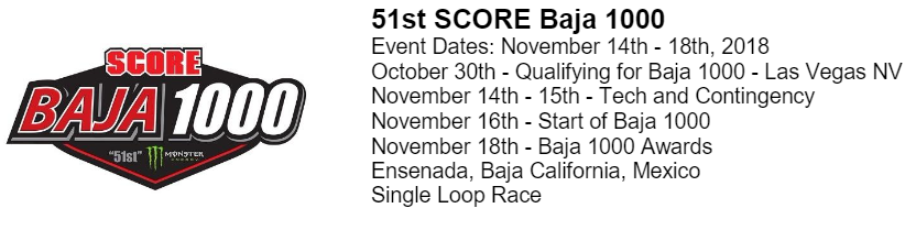 Official Race Schedule for the 2018 Baja 1000