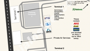Terminal detailed map of the San Jose del Cabo Airport (SJD)