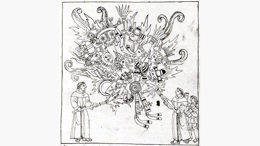 An illustration from the Forentine Codex showing Christian monks burning all existing Mesoamerican culture