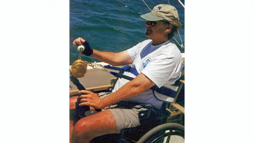 A rod stabilizer to allow a handicapped angler to hold the fishing rod