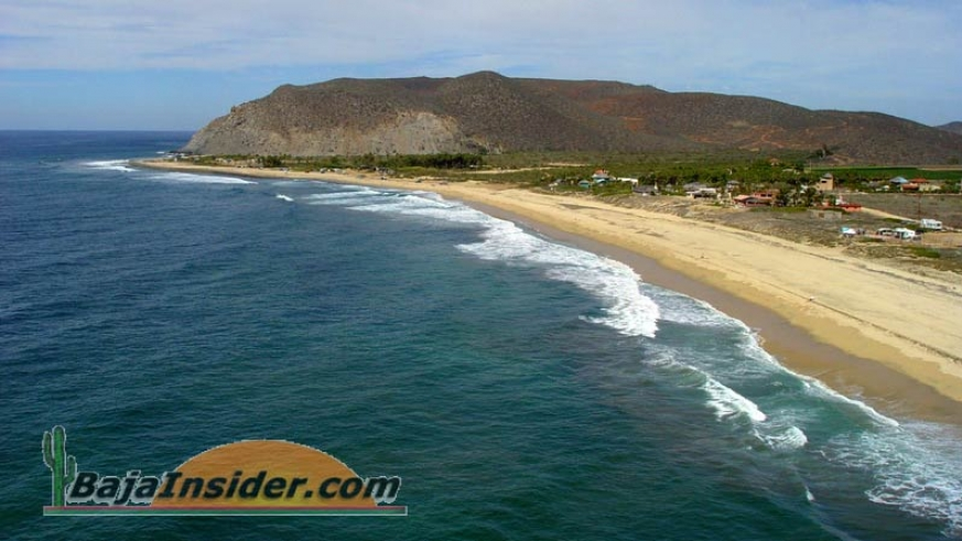 Aerial view of San Pedrito, the area famous for surfing & camping