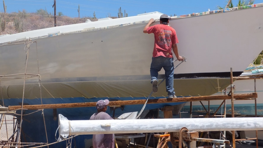 Vessel being painted with 2 part epoxy paint at Bercovich