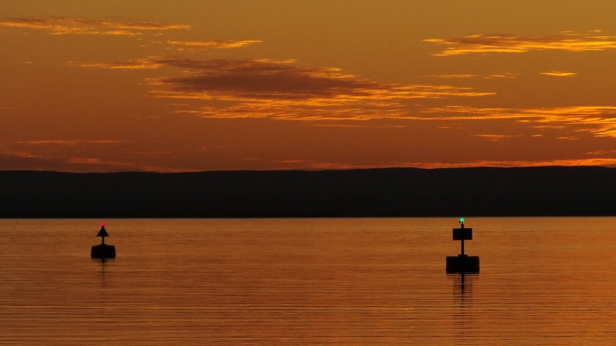 Sunset on the channel markers in La Paz