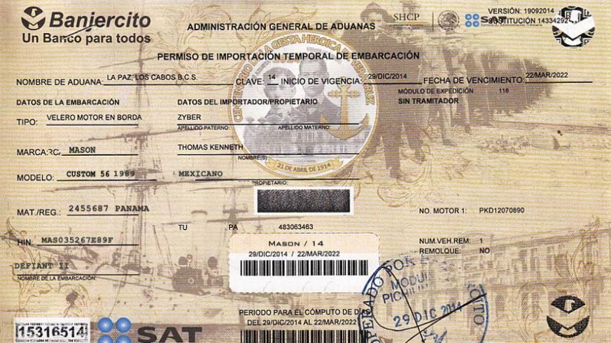A Mexican  Vessel Temporary Import Permit or TIP