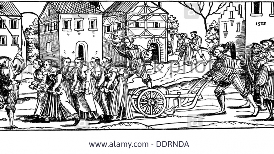 17th century wood cut of Carnaval event: Single women made to drag a plow through the center of town