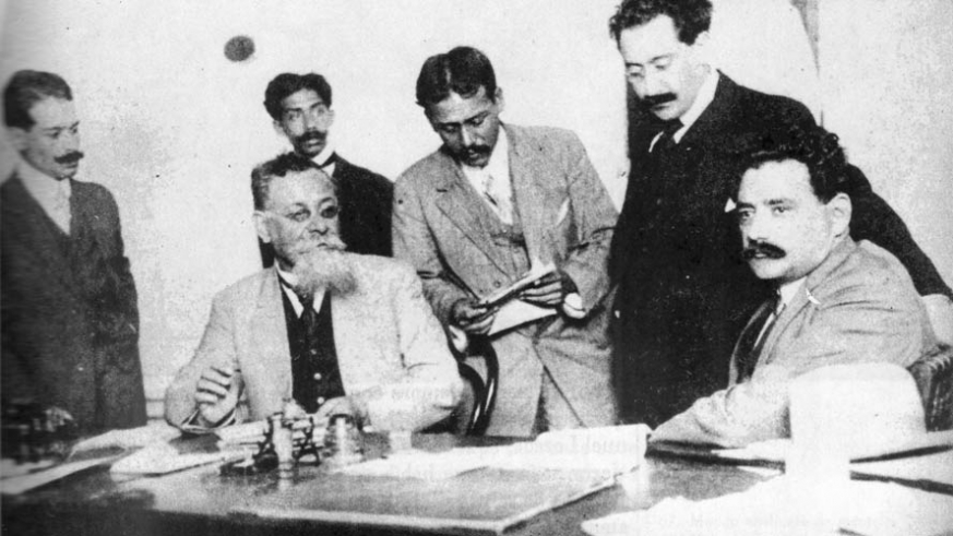 Venustiano Carranza with advisers on the Constitution, he was later assassinated on May 21, 1920