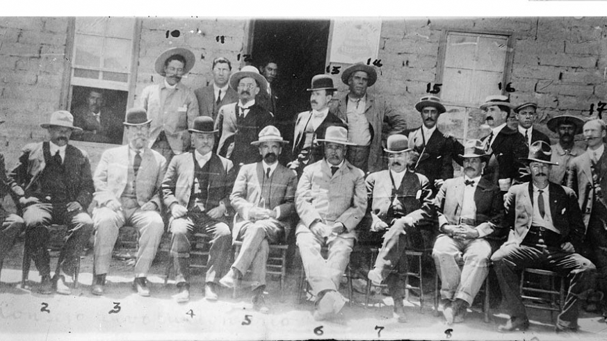 The revolutionary leaders of 1910 including Pancho Villa (#10), Francisco Madero (#5) & José Venustiano Carranza Garza  (#3)