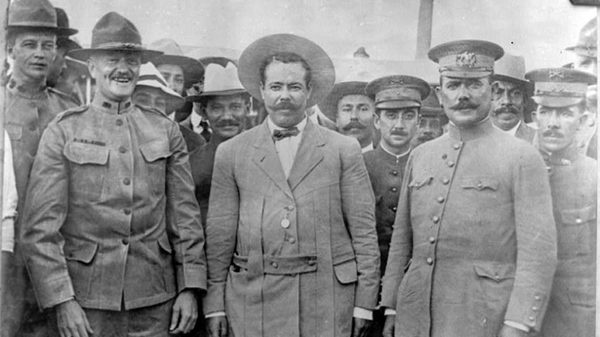 Meeting on the US side of the border Gen George  Pershing, Pancho Villa & Álvaro Obregón before Villa became persona non grata to the US.