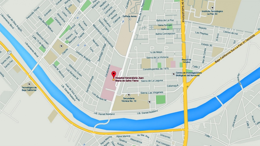Map to the La Paz Salvatierria Hospital, one of the finest in Mexico when it opened in 2009