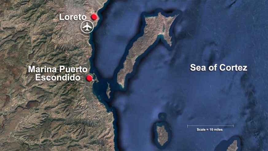 Map showing Marina Puerto Escondido and the greater Loreto area