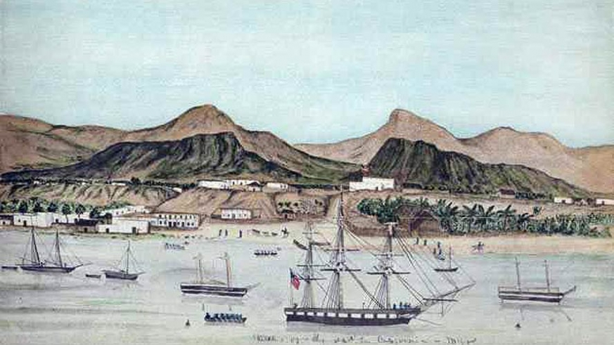 The USS Dale anchored off La Paz in 1849 during the Mexican American War
