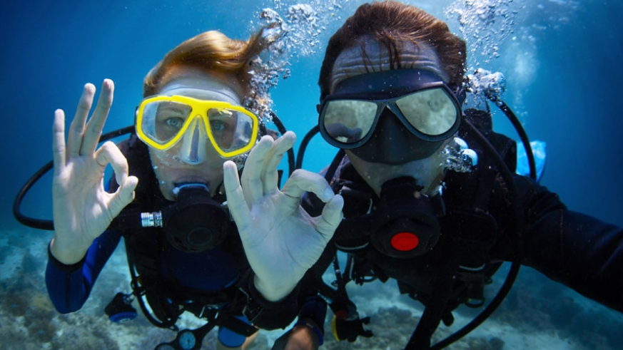 Scuba diving peaks in late summer and remains clear well into December