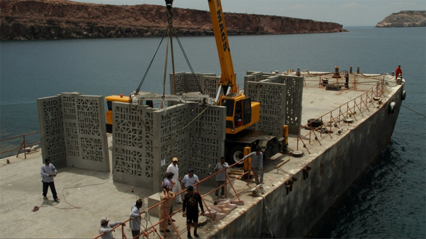 Preparing to lower one of the art panels into the Sea of Cortez