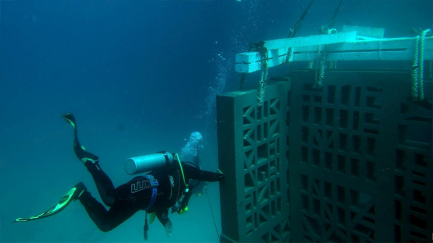 A diver guides one of the panels into place on the sea floor of El Cardinal
