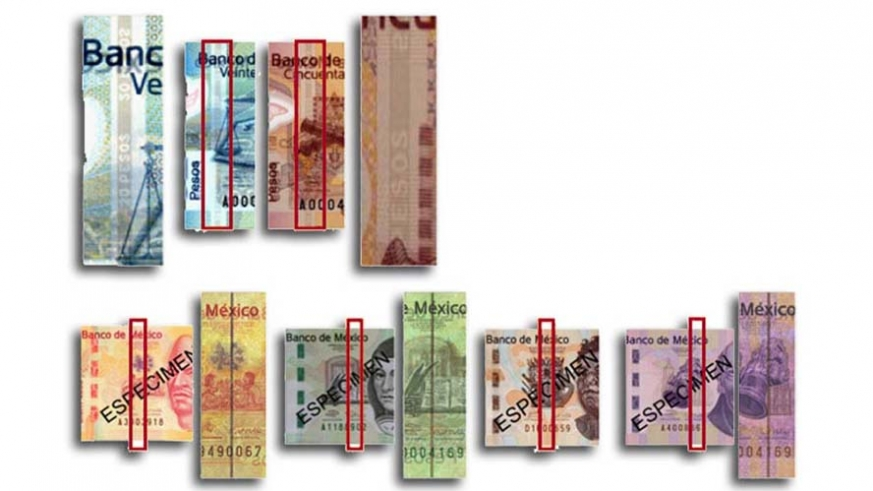 The larger notes have a security thread printed from one side to the other of the note.