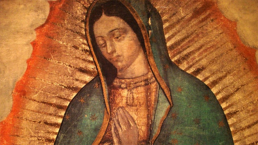 "Section of the original 'tila"" image of he Virgin of Guadalupe"
