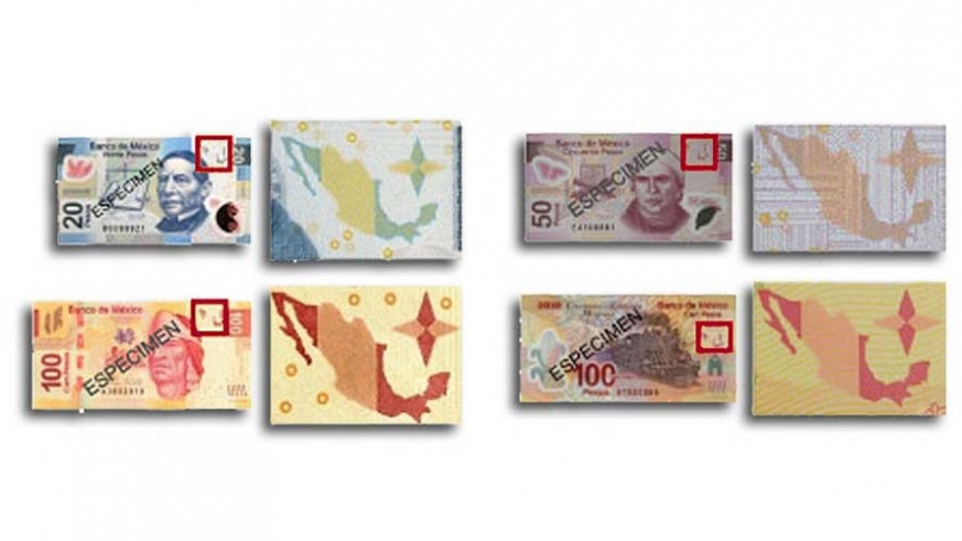 Each denomination has a fractured map of Mexico and a compass rose printed, 1/2 on each side of the note. When held up to the light the map and compass rose become complete.