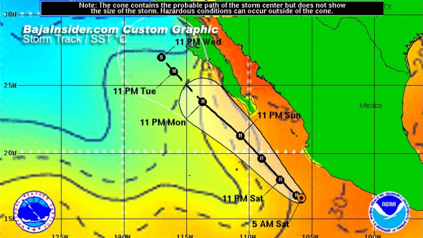 Hurricane Odile's original projected path shown over the Sea Surface Temperature graphic. Odile passed more than 85 miles further east, directly over southern Baja.