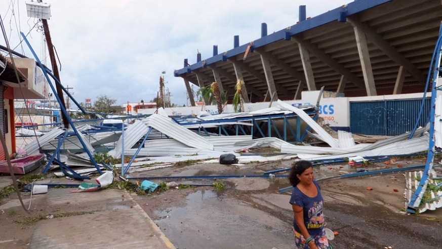 Odile did extensive damage to Nahl stadium in La Paz