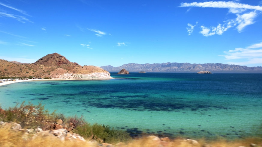The welcoming blue green waters of the Sea of Cortez