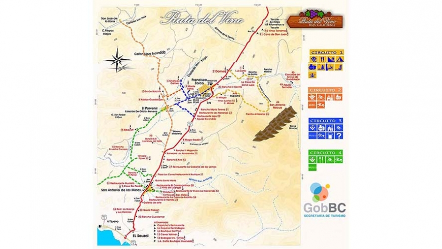 Map for the Guadalupe Valley Winery Route