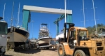 The 200 ton monster travel lift awaits the completion of the concrete piers